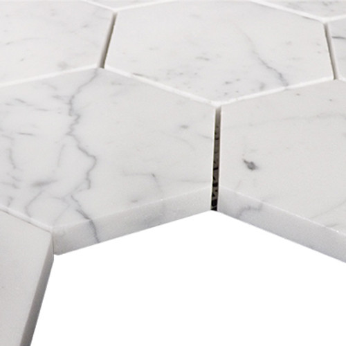 "Italian Carrara White Marble Hexagon 4"" Mosaic Tile Honed"