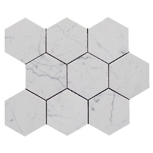 "Italian Carrara White Marble 4"" Hexagon Mosaic Tile Honed"