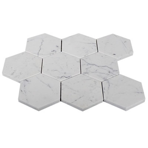 "4"" Italian Carrara White Marble Hexagon Mosaic Tile Honed"