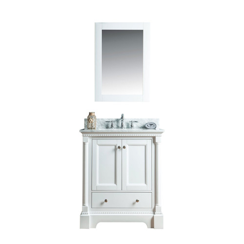 Olivia 30 in. Single Bathroom Vanity in White with Carrera Marble Top