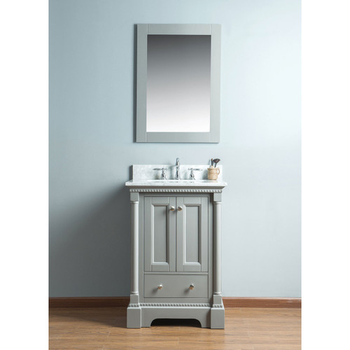 Olivia 24 in. Single Bathroom Vanity in Gray with Carrera Marble Top