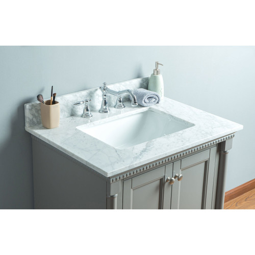 Olivia 30 in. Single Bathroom Vanity in Gray with Carrera Marble Top