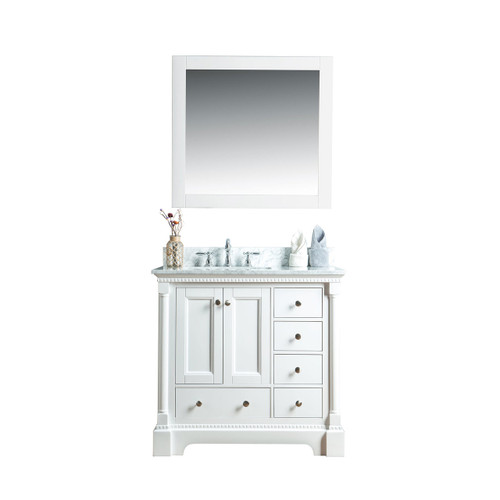 Olivia 36 in. Single Bathroom Vanity in White with Carrera Marble Top