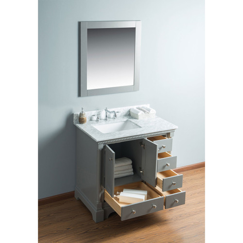 Olivia 36 in. Single Bathroom Vanity in Gray with Carrera Marble Top