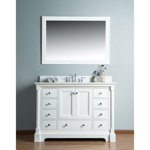 Olivia 48 in. Single Bathroom Vanity in White with Carrera Marble Top