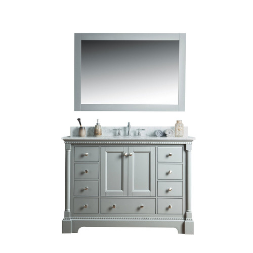 Olivia 48 in. Single Bathroom Vanity in Gray with Carrera Marble Top