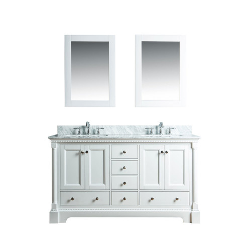 Olivia 60 in. Double Bathroom Vanity in White with Carrera Marble Top