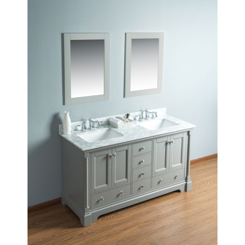 Olivia 60 in. Double Bathroom Vanity in Gray with Carrera Marble Top