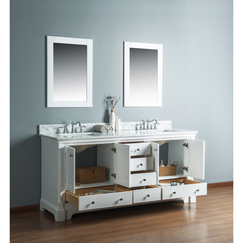 Olivia 72 in. Double Bathroom Vanity in White with Carrera Marble Top
