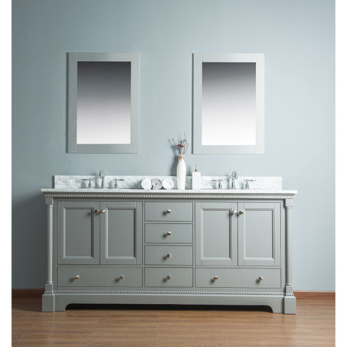 Olivia 72 in. Double Bathroom Vanity in Gray with Carrera Marble Top