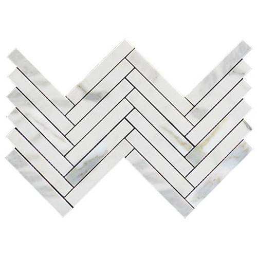 """Calacatta Gold Italian Marble 1"""" x 6""""  Herringbone Mosaic Tile Polished"""