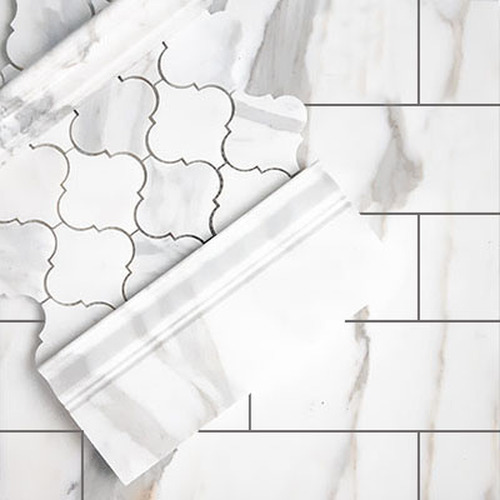 Calacatta Gold Italian Marble 4x12 Subway Tile Honed