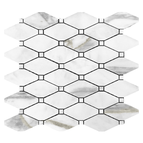 Calacatta Gold Long Octagon Rhomboid Mosaic Tile with Calacatta Dots Honed