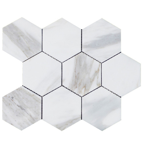 "Calacatta Gold Italian Marble 4"" Hexagon Mosaic Tile Honed"