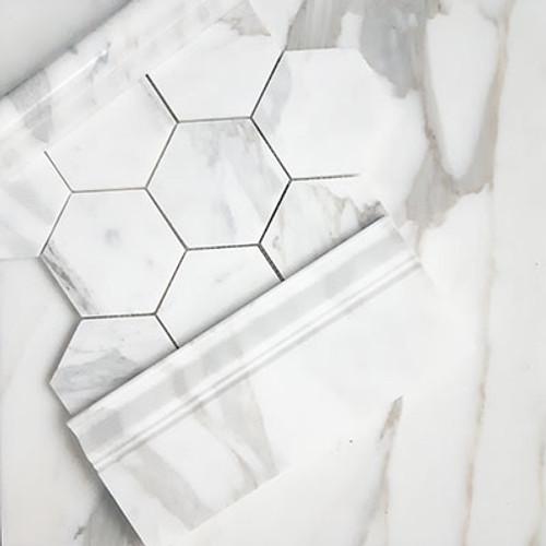 "Calacatta Gold Italian Marble 4"" Hexagon Mosaic Tile Honed"