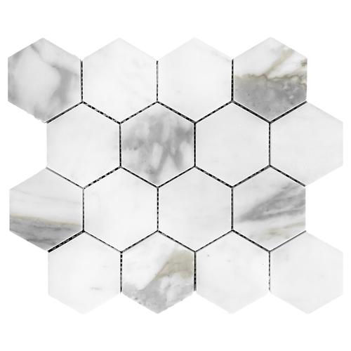 "Calacatta Gold Italian Marble 3"" Hexagon Mosaic Tile Honed"