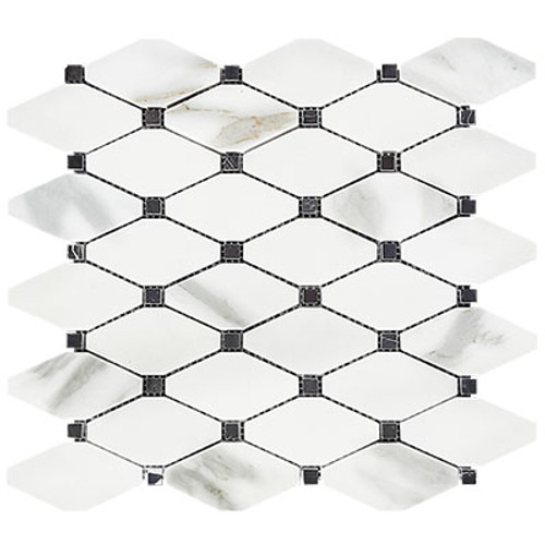 Calacatta Gold Italian Marble Long Octagon Rhomboid Mosaic Tile with Nero Marquina Black Dots Polished