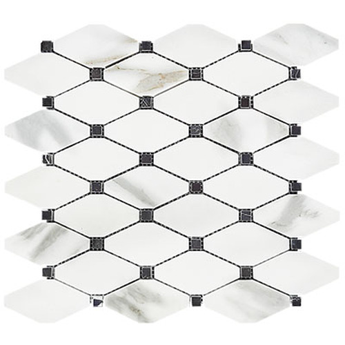 Calacatta Gold Italian Marble Long Octagon Rhomboid Mosaic Tile with Nero Marquina Black Dots Polished