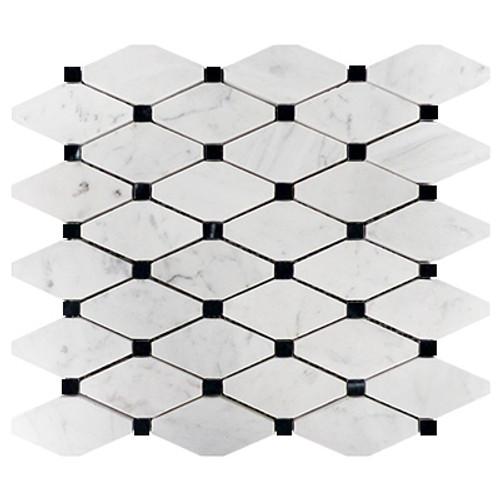Bianco Carrara Rhomboid Mosaic Long Octagon Tile with Black Dots Honed