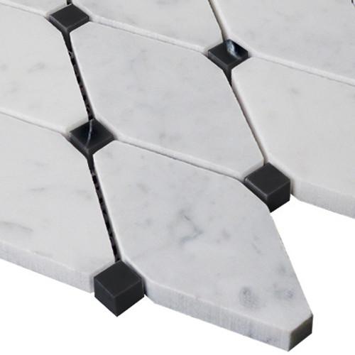 Bianco Carrara Rhomboid Mosaic Long Octagon Tile with Black Dots Honed
