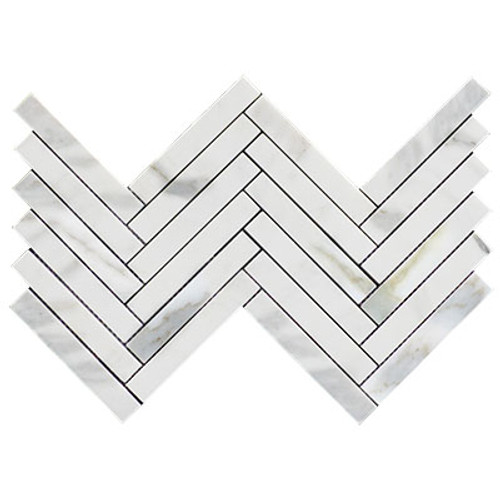 "Calacatta Gold Italian Marble 1"" x 6""  Herringbone Mosaic Tile Honed"