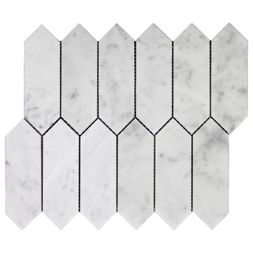 White Carrara Picket Mosaic Tile Honed