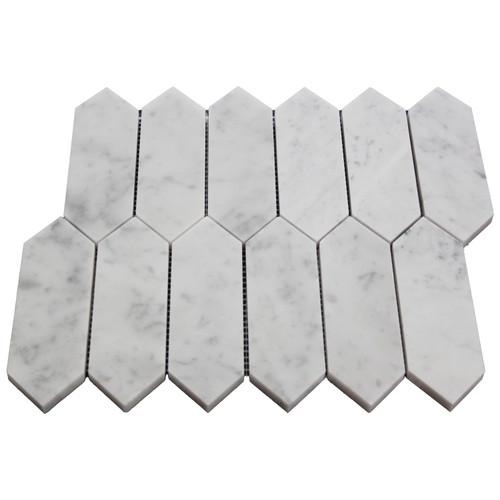White Carrara Picket Mosaic Tile Honed
