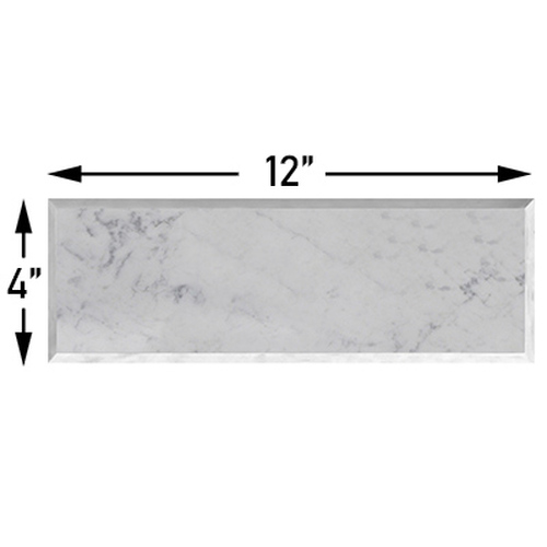 Carrara Marble 4x12 Wide Bevel Subway Tile Honed