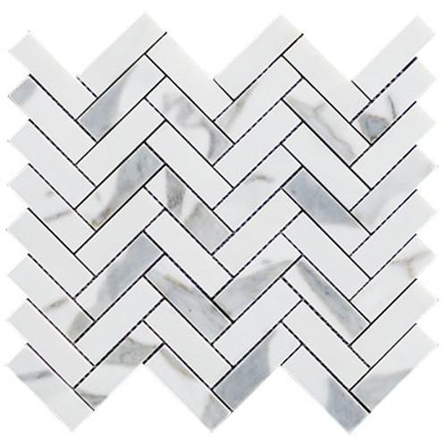 """Calacatta Gold Italian Marble 1"""" x 3"""" Herringbone Mosaic Tile Polished"""