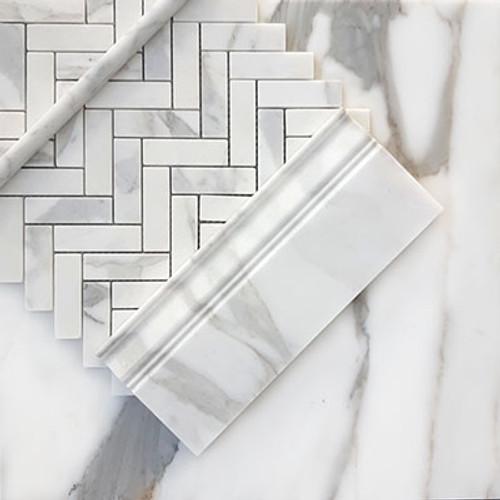 "Calacatta Gold Italian Marble 1"" x 3"" Herringbone Mosaic Tile Honed"