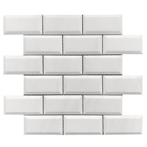Bianco Dolomiti Marble Italian White Dolomite 2x4 Wide Bevel Mosaic Tile Polished