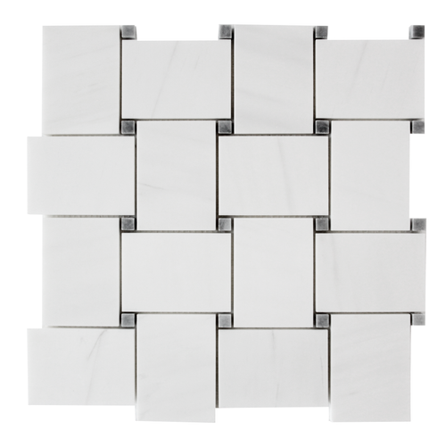 Dolomiti White Marble Italian Bianco Dolomite Large Basketweave Mosaic Tile with Bardiglio Gray Dots Polished