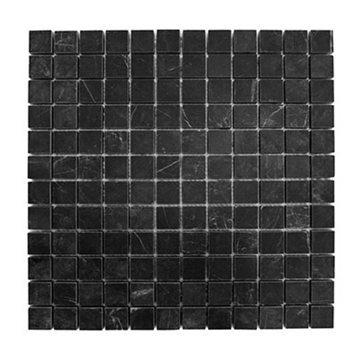Nero Marquina Black Marble 1x1 Mosaic Tile Polished