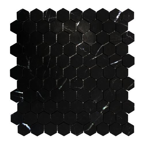 "Nero Marquina Black Hexagon 1"" Mosaic Tile Honed"