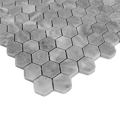 "Bardiglio Grey Marble 1"" Hexagon Mosaic Tile Honed"