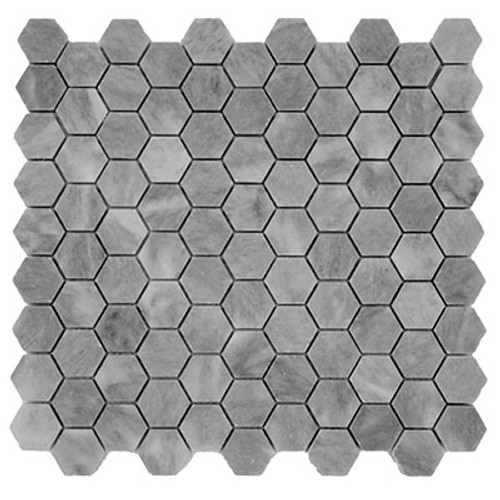 "Bardiglio Gray Marble 1"" Hexagon Mosaic Tile Honed"