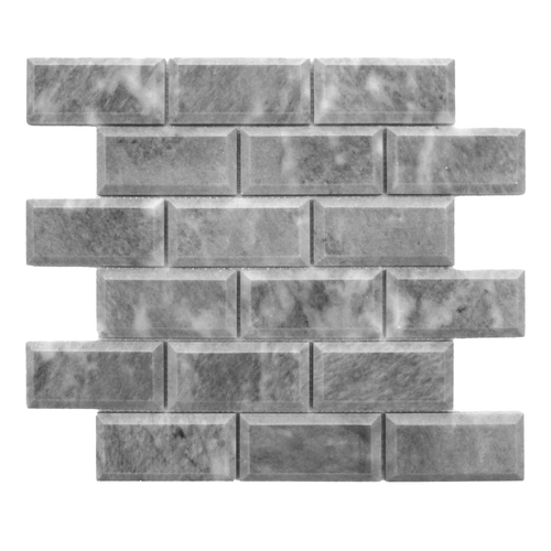 Bardiglio Gray Marble 2x4 Wide Bevel Mosaic Tile Polished