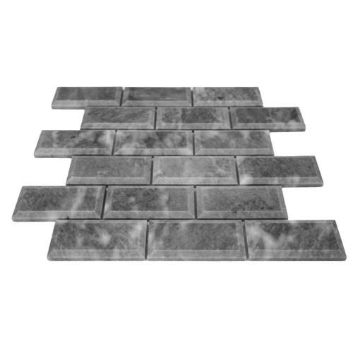 Bardiglio Gray Marble 2x4 Big Bevel Mosaic Tile Polished