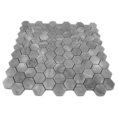 "Bardiglio Gray Marble 1"" Hexagon Mosaic Tile Polished"