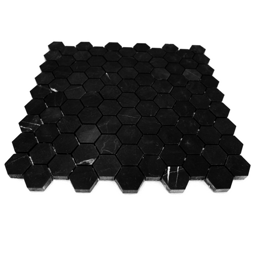"Negro Marquina Black Hexagon 1"" Mosaic Tile Polished"