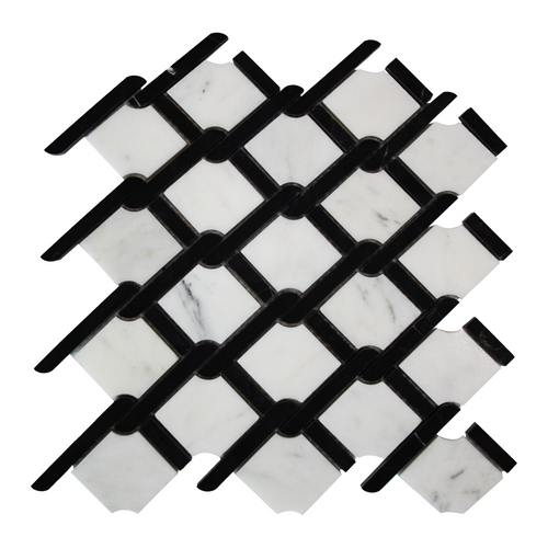 Carrara Marble Rope Design with Black Strips Mosaic Tile Polished