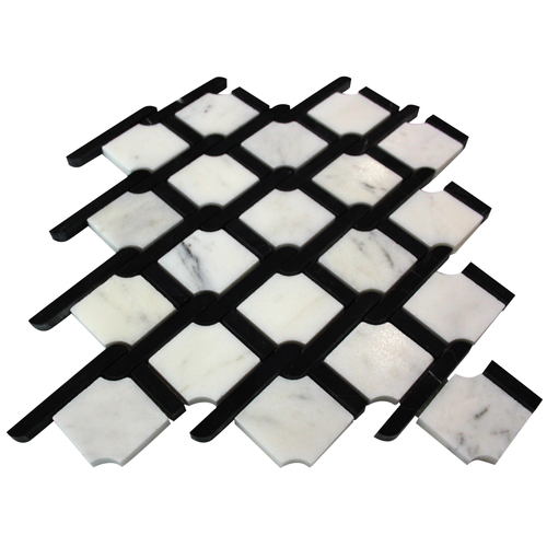 Bianco Carrera Rope Design with Nero Marquina Strips Mosaic Tile Polished