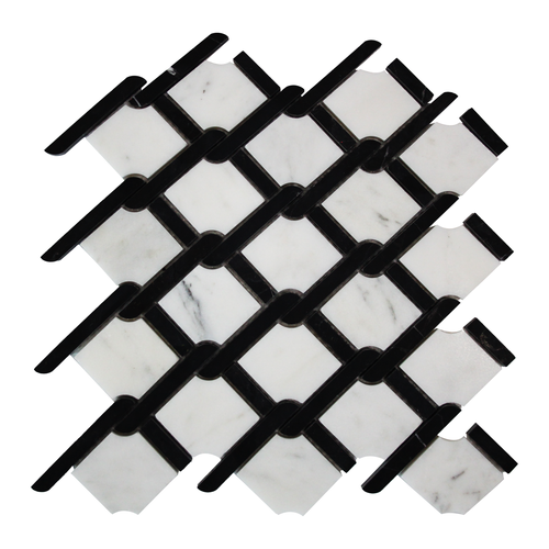 Carrara Marble Rope Design with Black Strips Mosaic Tile Honed
