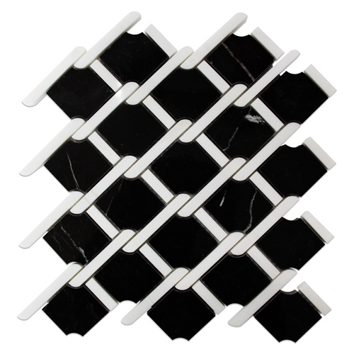 Nero Marquina Marble Rope Design with Dolomite Strips Mosaic Tile Polished