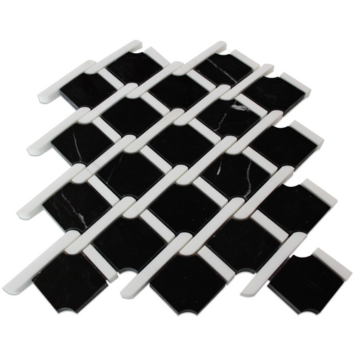 Black Marble Rope Design with Bianco Dolomite Strips Mosaic Tile Polished