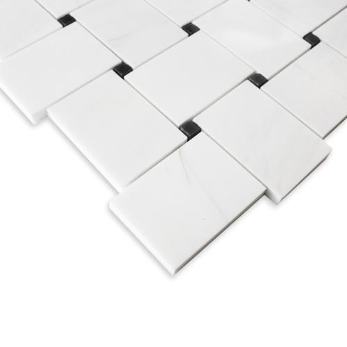 Dolomiti White Marble Italian Large Basketweave Mosaic Tile with Nero Marquina Black  Dots Polished