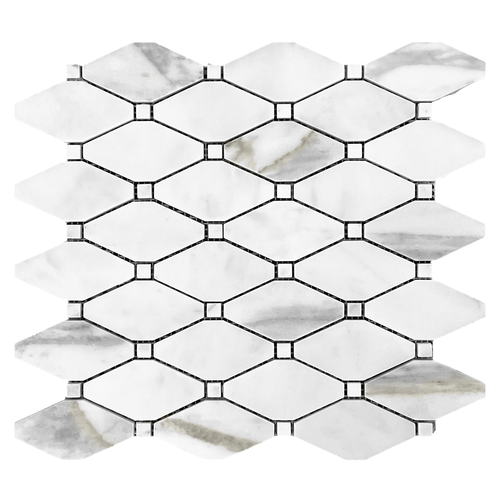 Calacatta Gold Marble Long Octagon Rhomboid Mosaic Tile with Calacatta Dots Polished