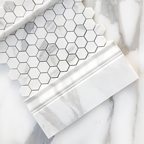 "Calacatta Gold Italian Marble 1"" Hexagon Mosaic Tile Polished"