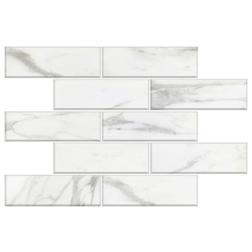 Calacatta Gold Italian Marble 4x12 Wide Bevel Subway Tile Polished