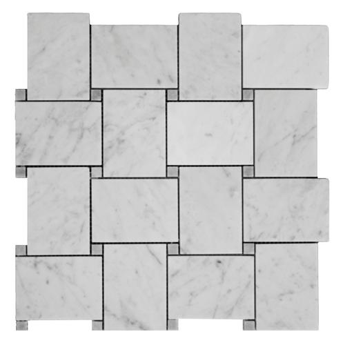 Italian White Carrera Marble Bianco Carrara Basketweave Mosaic Tile with Bardiglio Gray Dots Polished